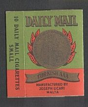 Daily Mail old cigarette packet EMPTY #181